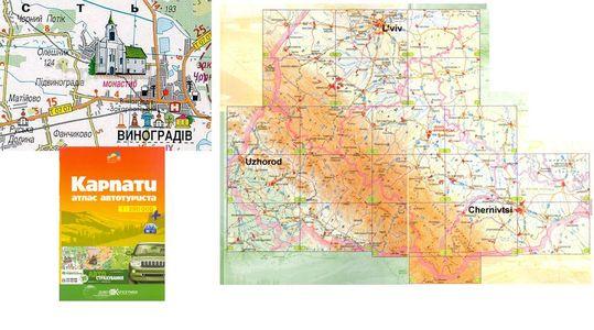 Karpaty Karpaten Roadatlas 1:250d Ukr Map