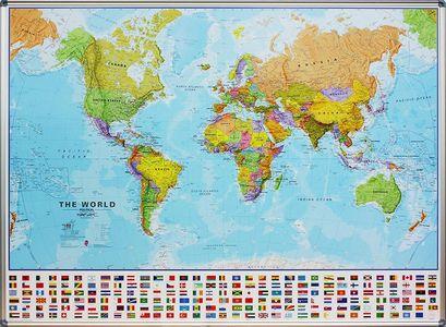 Magneetbord wereld staatkundig Engelstalig 136 × 100 cm