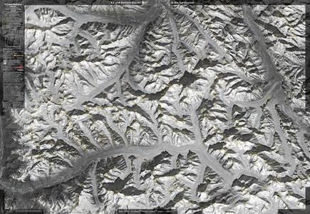 K2 & Baltoro Glacier Satt. Image Folded
