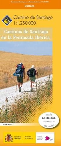 Caminos de Santiago en la Península Ibérica - overzichtskaart Jacobsroutes in Spanje en Portugal
