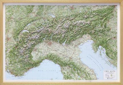 Alps Alpi 1:1m Alpen Reliefkaart Met Houten Lijst
