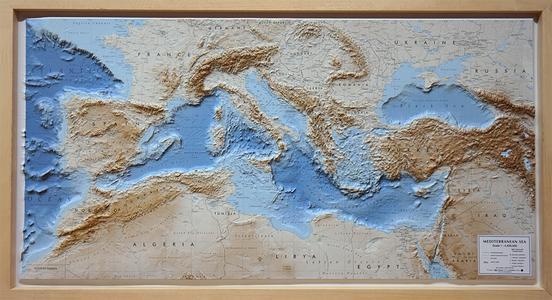 Reliefkaart Mediterranee Middellandse Zee Mediterrean Sea 1/4.4 Met Houten Lijst