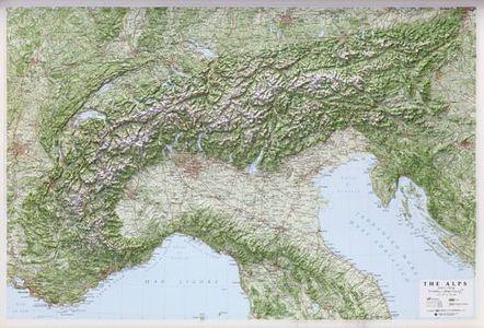 Alps Alpi 1:1m Alpen Reliefkaart Zonder Lijst