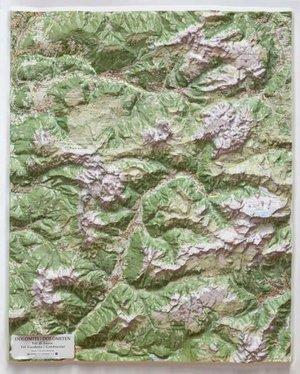 Dolomiti Val Di Fassa Lac Relief 1/50k 67 X 84 Cm
