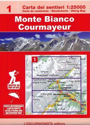 1 Monte Bianco Courmayeur wandelkaart + routeboekje - watervast