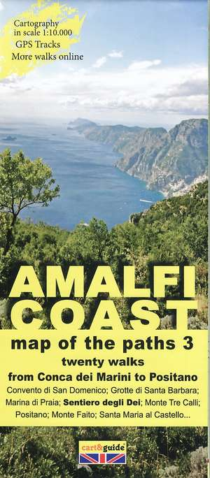 Amalfi Coast 3 From Conca Dei Marini To Positano 1:10.000