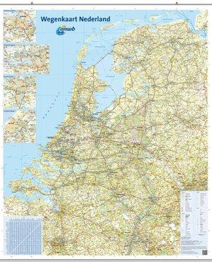 Wegenkaart Nederland 1:300.000 wandkaart