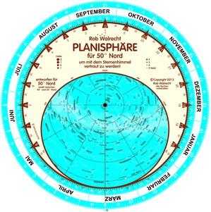 Planisfeer voor 50°NB DE