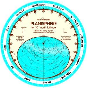 Planisfeer voor 30° NB ENG