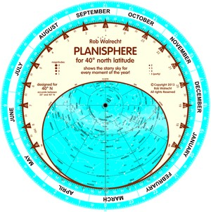 Planisfeer voor 40° NB ENG