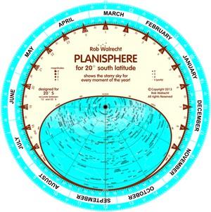 Planisfeer voor 20° ZB ENG
