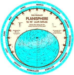 Planisfeer voor 40° ZB ENG