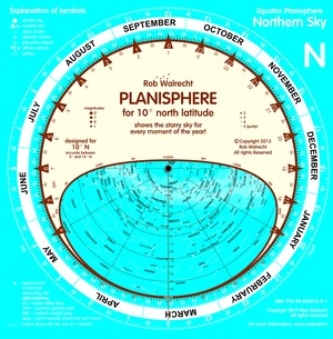 Planisphere for Equator area (10 degrees N and 10 degrees S)