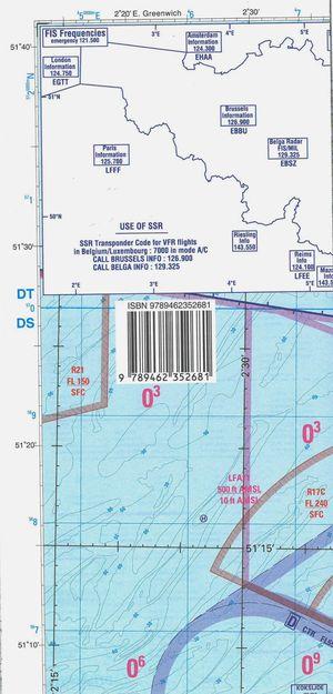 Low air België luchtvaartkaart gevouwen