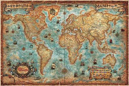 Modern World Antique Map 1/3m Gelamin,