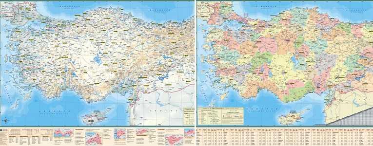 Turkije 1:1,7m Staatkundig/Natuurkundig wandkaart