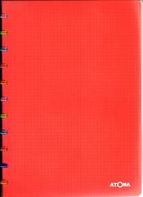 Cahier Atoma rouge 144 pages petits carreaux avec marge 90g