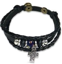 Armband Leder Kruis En Kralen Zwart