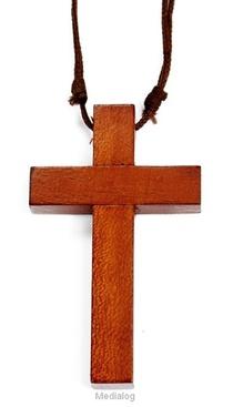 Kruis Hout 5cm Aan Leren Koord