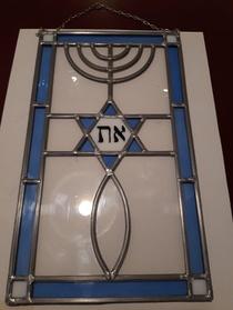 Wanddecoratie - glas in lood - Menorah + davidsster