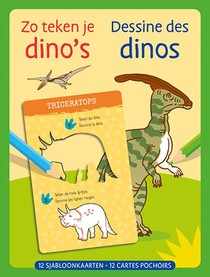 Zo teken je dino's - 12 sjabloonkaarten / Dessine des dinos – 12 cartes pochoirs