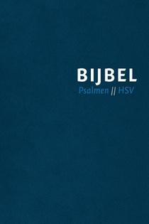 Bijbel (HSV) met Psalmen - blauw leer met zilversnee, rits en duimgrepen