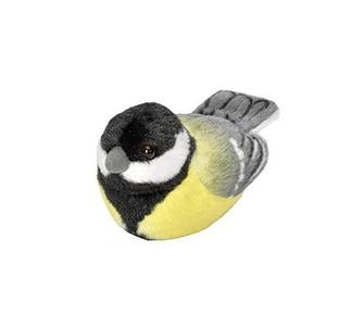 Pluche vogel met geluid - Koolmees