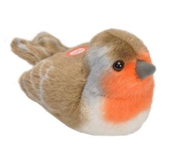 Pluche vogel met geluid - Roodborst