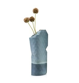 Paper Vase Cover Small Blue Watercolour