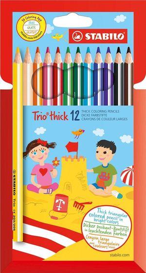 Stabilo Trio Dik 12 kleurpotloden in karton