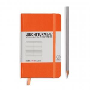 Leuchtturm A6 Pocket Orange Ruled Hardcover Notebook