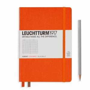 Leuchhturm A5 Medium Orange Squared Hardcover Notebook