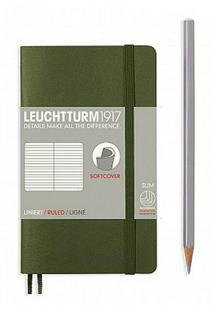 Leuchtturm A6 pocket army ruled softcover notebook