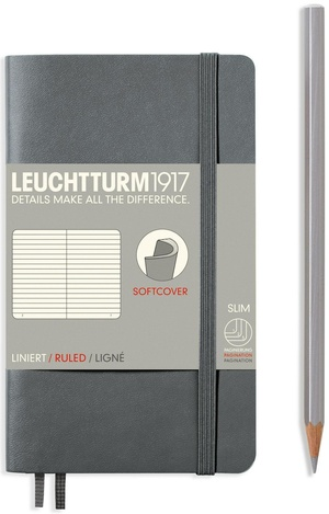 Leuchtturm A6 pocket anthracite ruled softcover notebook