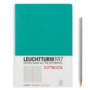 Leuchtturm A5 jottbook medium emerald squared softcover notebook