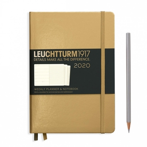 Leuchtturm Weekly Planner + Notebook 2020 A5 Medium Gold Hardcover
