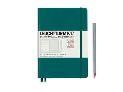 Leuchtturm weekly planner + notebook A5 medium pacific green 18 maanden 2019-2020