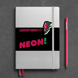 Leuchtturm A5 medium silver neon pink dotted hardcover notebook