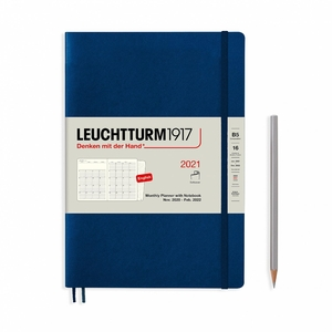 Leuchtturm Montly Planner + Notebook Softcover B5 Navy 16 maanden 2020-2021