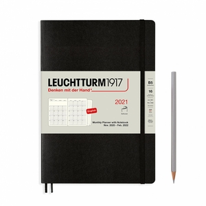 Leuchtturm Montly Planner + Notebook Softcover B6 Black 16 maanden 202-2021