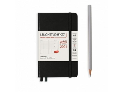 Leuchtturm Academic Week Planner A6 Pocket Black 18 maanden 2020-2021