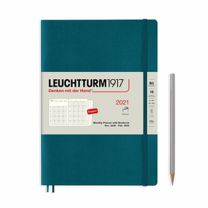 Leuchtturm Montly Planner + Notebook Softcover B6 Pacific Green 16 maanden 2020-2021