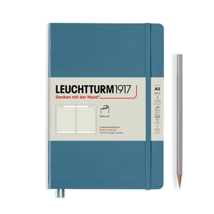 Leuchtturm Rising Colours A5 Medium Softcover Stone Blue Ruled Notebook