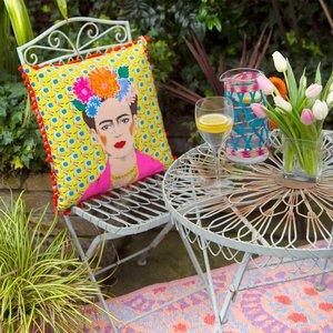 Talking Tables Boho Frida Kahlo Kussen Geel met kwastjes