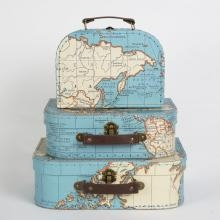 Koffer-set (3 Koffertjes) - Retro Vintage World Map