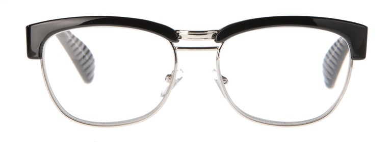 Icon Eyewear MCE723 Sean, Silverline Leesbril +1.50 - Glanzend zwart, metalen onderzijde