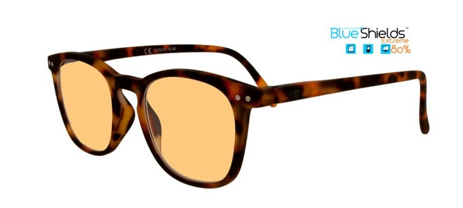 Icon Eyewear YED215 Xtreme Jibz BlueShields Leesbril +2.50 - Rubberized Demi Tortoise