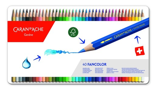 Caran d'Ache Fancolor Kleurpotloden 40 Stuks Assorti