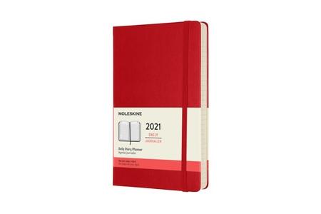 Moleskine 12 Monate Tageskalender 2021 Large/A5, 1 Tag = 1 Seite, Fester Einband, Scharlachrot