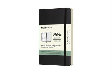 Moleskine Weekly Notebook Diary/Planner Pocket Black Softcover 18 maanden 2021-2022